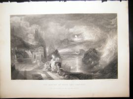 After Turner 1862 Antique Print, Parting Of Hero and Leander, Art Journal
